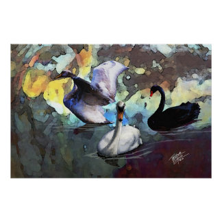 Chinese Watercolor Style Swans Swimming Poster