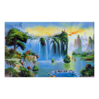 Chinese Waterfall Painting Poster