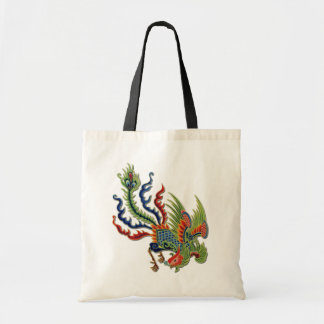 Chinese Wealthy Peacock Tattoo Colorful Feathers Tote Bag