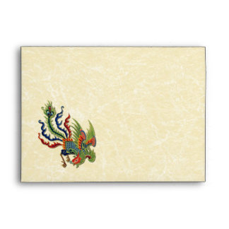 Chinese Wealthy Peacock Tattoo Neutral Beige Envelope