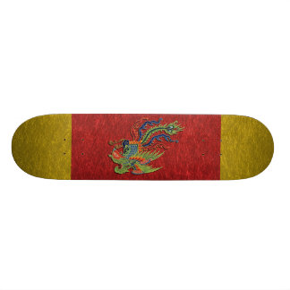 Chinese Wealthy Peacock Tattoo Skateboard Deck