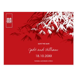 Chinese Wedding Bamboo Zen Modern Save The Date Postcard