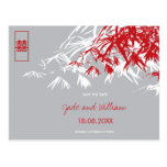 Chinese Wedding Bamboo Zen Modern Save The Date Post Cards