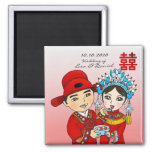 Chinese Wedding Couple: Square Magnet Pink