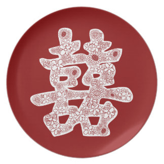 Chinese Wedding Double Happiness Floral Paper Cut Dinner Plates