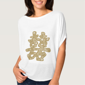 Chinese Wedding Double Happiness Floral Paper Cut Tee Shirt