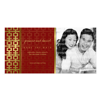 Chinese Wedding Double Happiness Red Save The Date Card