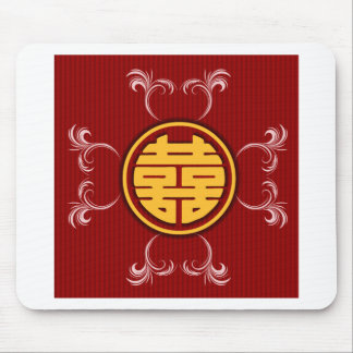 Chinese wedding double happiness stickers mouse pad