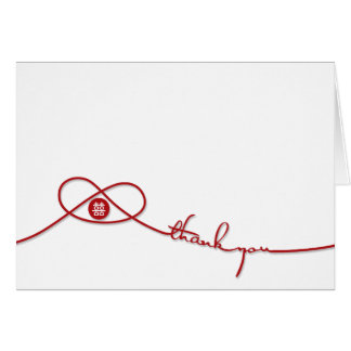 Chinese Wedding Knot Double Happiness Thank You Stationery Note Card