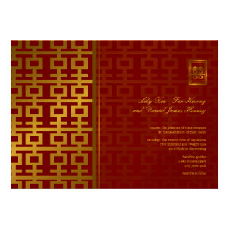 Chinese Wedding Modern Double Happiness Red Gold Announcements