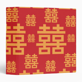 Chinese Wedding or Engagement Double Happiness 3 Ring Binder