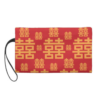 Chinese Wedding or Engagement Double Happiness Wristlet