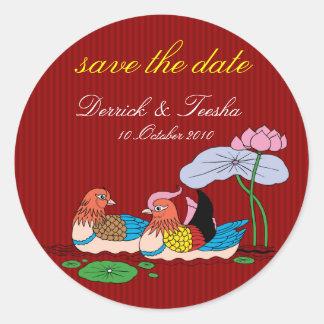 Chinese wedding save the date designed by Kanjiz Classic Round Sticker