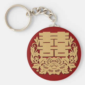 Chinese wedding with double happiness and flower keychain