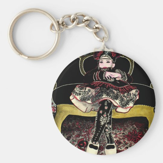 Chinese with flowers 3 keychain