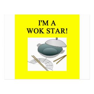 chinese wok cooking postcard
