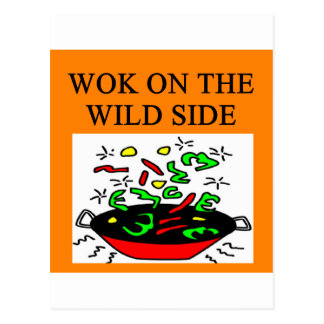 chinese wok cooking postcard