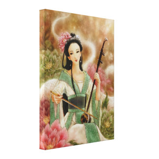 Chinese Woman Playing Erhu Canvas Wrap Print Canvas Print