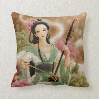 Chinese Woman Playing Erhu Fantasy Art Pillow
