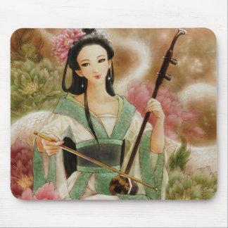 Chinese Woman Playing Erhu Mousepad