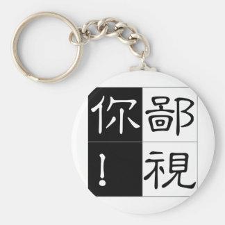 Chinese word: bi3 shi4 ni3 despise you basic round button keychain