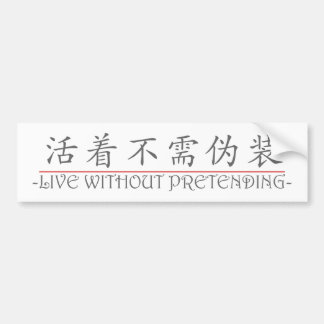 Chinese word for LIVE WITHOUT PRETENDING 10224_1.p Bumper Sticker