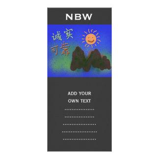 Chinese words: 诚 实 , 可 靠 custom rack card