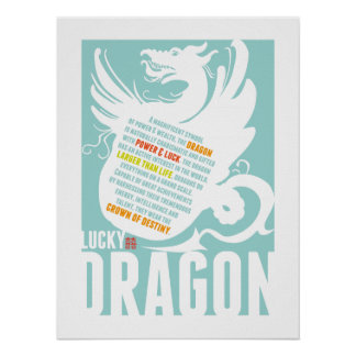 Chinese Year of the Dragon - Boys Room Baby Shower Poster