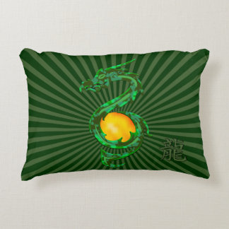 Chinese Year of the Dragon Jade Green Accent Pillow