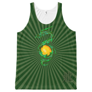 Chinese Year of the Dragon Jade Green All-Over-Print Tank Top