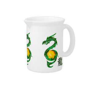 Chinese Year of the Dragon Jade Green Beverage Pitcher