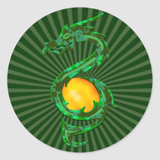 Chinese Year of the Dragon Jade Green Classic Round Sticker