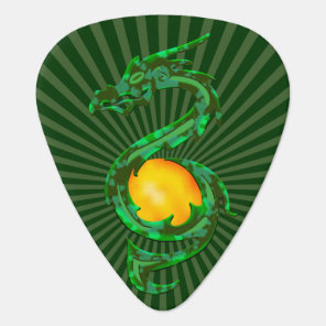 Chinese Year of the Dragon Jade Green Guitar Pick