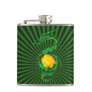 Chinese Year of the Dragon Jade Green Hip Flask