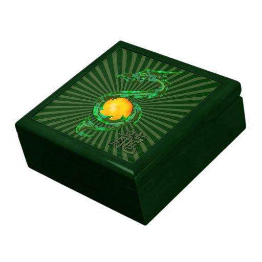 Chinese Year of the Dragon Jade Green Keepsake Box