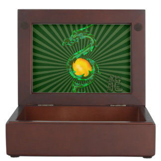 Chinese Year of the Dragon Jade Green Memory Box