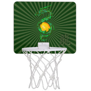 Chinese Year of the Dragon Jade Green Mini Basketball Hoop
