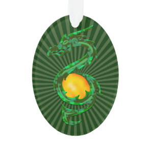 Chinese Year of the Dragon Jade Green Ornament