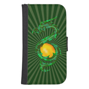 Chinese Year of the Dragon Jade Green Phone Wallet