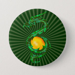 Chinese Year of the Dragon Jade Green Pinback Button