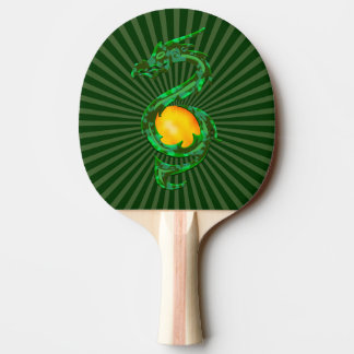 Chinese Year of the Dragon Jade Green Ping Pong Paddle