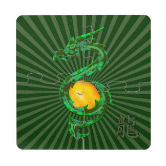 Chinese Year of the Dragon Jade Green Puzzle Coaster