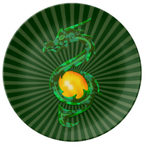 Chinese Year of the Dragon Jade Green Plate
