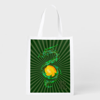 Chinese Year of the Dragon Jade Green Reusable Grocery Bag