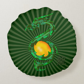 Chinese Year of the Dragon Jade Green Round Pillow