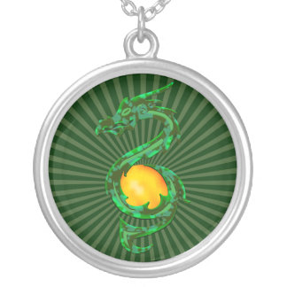 Chinese Year of the Dragon Jade Green Silver Plated Necklace