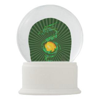 Chinese Year of the Dragon Jade Green Snow Globe