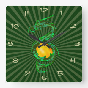 Chinese Year of the Dragon Jade Green Square Wall Clock