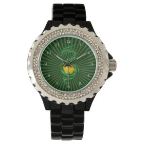 Chinese Year of the Dragon Jade Green Wrist Watch
