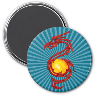 Chinese Year of the Dragon Metalic Red 3 Inch Round Magnet